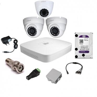 Система видеонаблюдения Dahua на 2 наружные и 1 внутреннюю камеры на 2 Мп с установкой