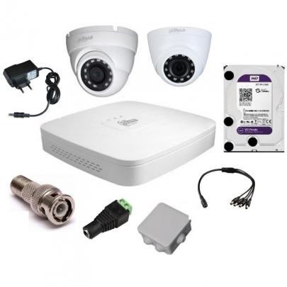 Система видеонаблюдения Dahua на 1 внутреннюю и 1 наружную камеры на 2 Мп с установкой