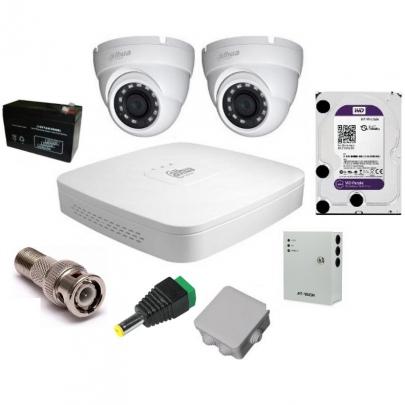 Система видеонаблюдения Dahua на 2 наружные камеры на 2 Мп с установкой