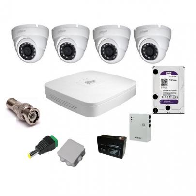 Система видеонаблюдения Dahua на 4 наружные камеры на 2 Мп с установкой