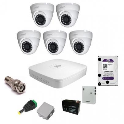 Система видеонаблюдения Dahua на 5 наружных камер на 2 Мп с установкой