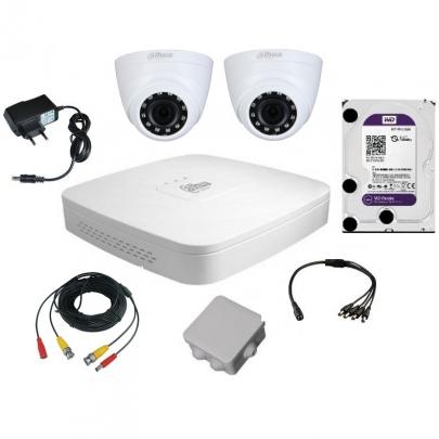 Комплект видеонаблюдения для самостоятельной установки Dahua на 2 внутренние камеры на 2 Мп