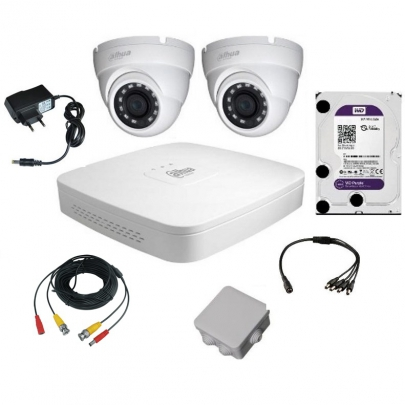 Комплект видеонаблюдения для самостоятельной установки Dahua на 2 наружные камеры на 2 Мп