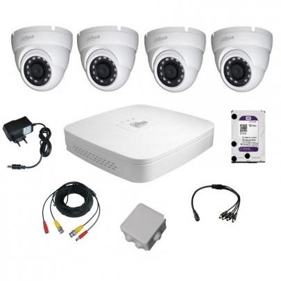 Комплект видеонаблюдения для самостоятельной установки Dahua на 4 наружные камеры на 2 Мп
