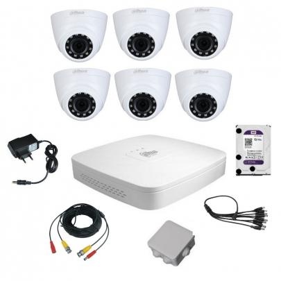 Комплект видеонаблюдения для самостоятельной установки Dahua на 6 внутренних камер на 2 Мп
