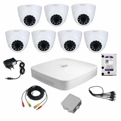 Комплект видеонаблюдения для самостоятельной установки Dahua на 7 внутренних камер на 2 Мп