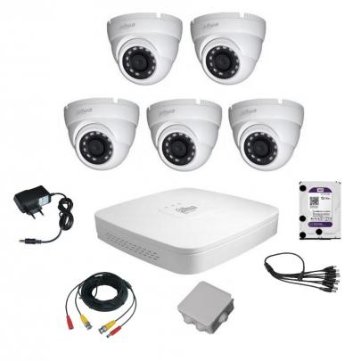 Комплект видеонаблюдения для самостоятельной установки Dahua на 5 наружных камер на 2 Мп