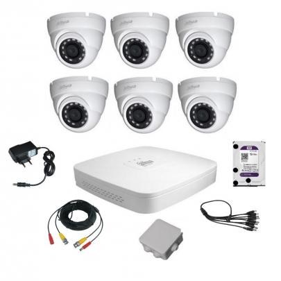 Комплект видеонаблюдения для самостоятельной установки Dahua на 6 наружных камер на 2 Мп