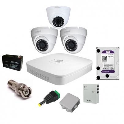 Система видеонаблюдения Dahuaна на 2 наружные и 1 внутреннюю камеры на 2 Мп с установкой