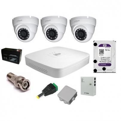 Система видеонаблюдения Dahua на 3 наружные камеры на 2 Мп с установкой