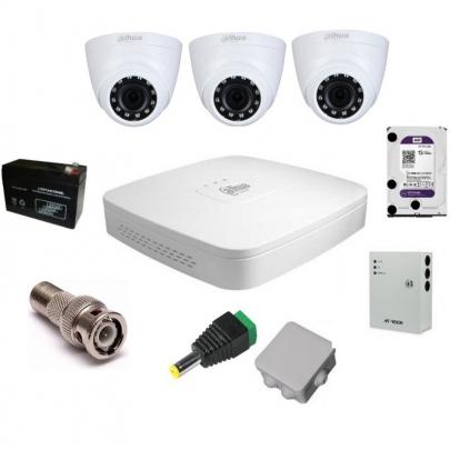 Система видеонаблюдения Dahua на 3 внутренние камеры на 2 Мп с установкой