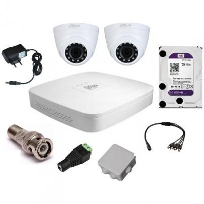 Система видеонаблюдения Dahua на 2 внутренние камеры на 2 Мп с установкой