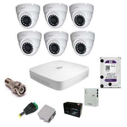 Комплект видеонаблюдения Dahua на 6 наружных камер на 2 Мп