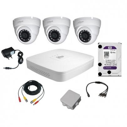 Комплект видеонаблюдения для самостоятельной установки Dahua на 3 наружные камеры на 2 Мп