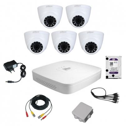 Комплект видеонаблюдения для самостоятельной установки Dahua на 5 внутренних камер на 2 Мп