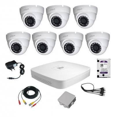 Комплект видеонаблюдения для самостоятельной установки Dahua на 7 наружных камер на 2 Мп