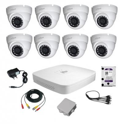 Комплект видеонаблюдения для самостоятельной установки Dahua на 8 наружных камер на 2 Мп